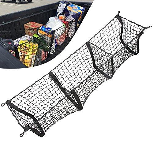 Three Pocket Cargo Net Trunk Cargo Organizer Truck Net For Toyota (Toyota Tundra Cargo)