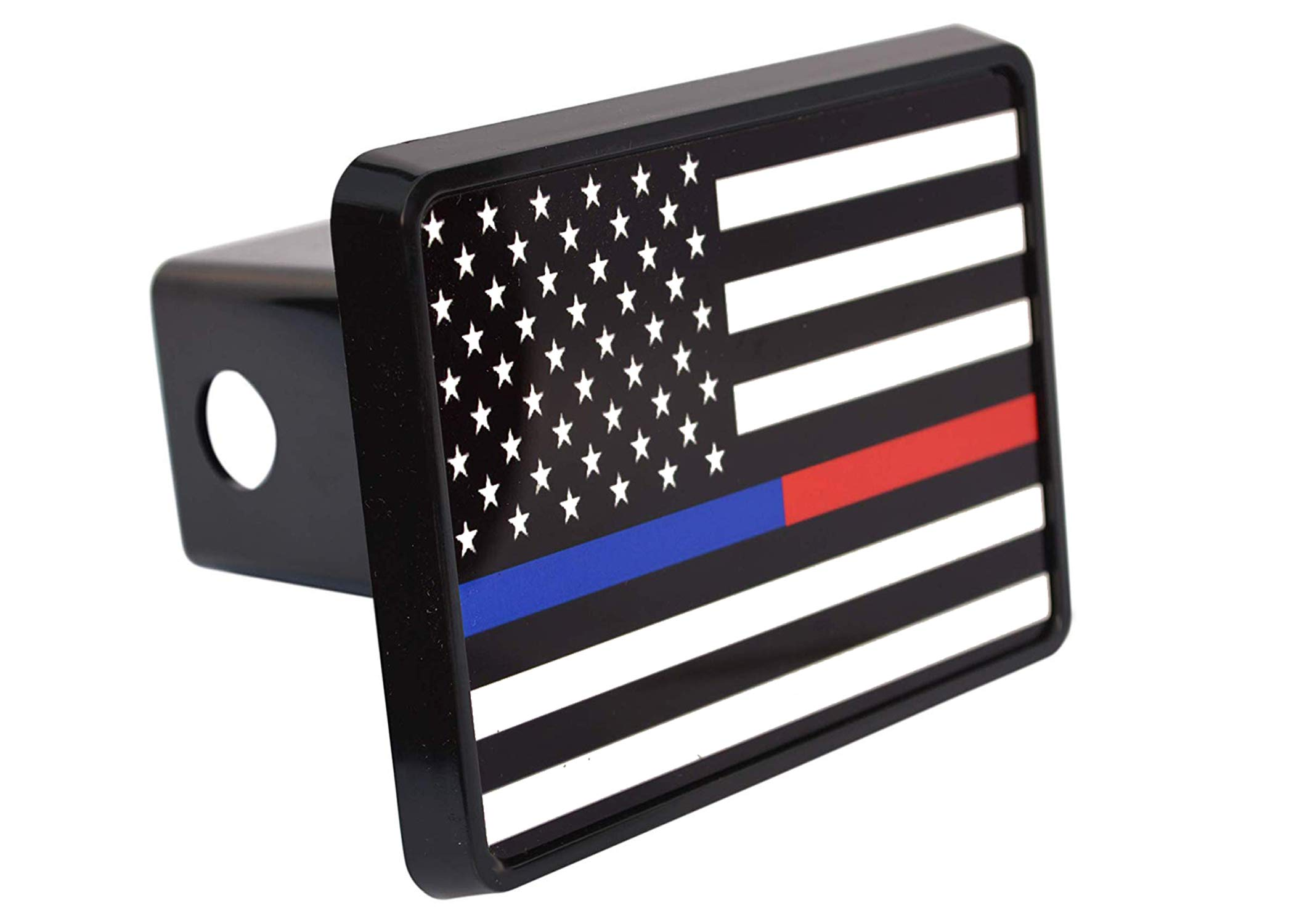 Thin Blue Red Line Lives Matter Flag Trailer Hitch Cover Plug US Police Officer Firefighter Flag by Rogue River Tactical