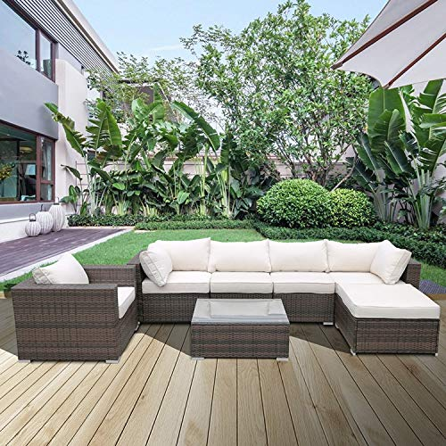 Merax Outdoor Furniture Sectional Sofa Set Rattan Sectional Sofa Set (7 Piece Set) All Weather Brown Checkered Wicker with Beige Washable Seat Cushions and Glass Coffee Table | Patio, Backyard, Pool