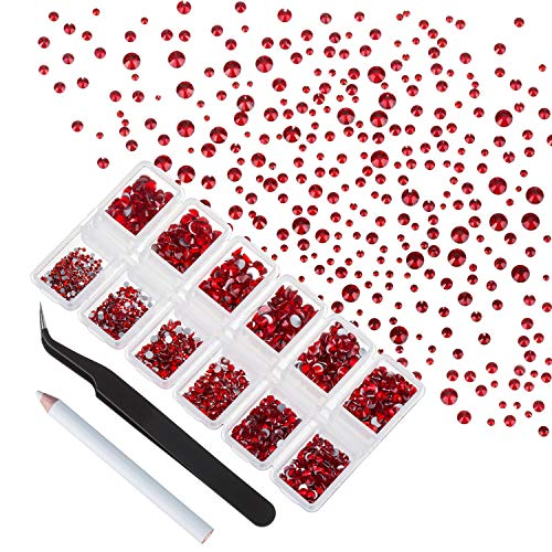 Zealer 4200 Pieces Flat Back Red Rhinestones for Craft, Round Crystal Gems Stickers for Clothes, 1.5 mm - 4.8 mm, 6 Sizes