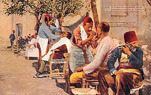 Turkish Barber Shop Constantinople Turkey Postcard