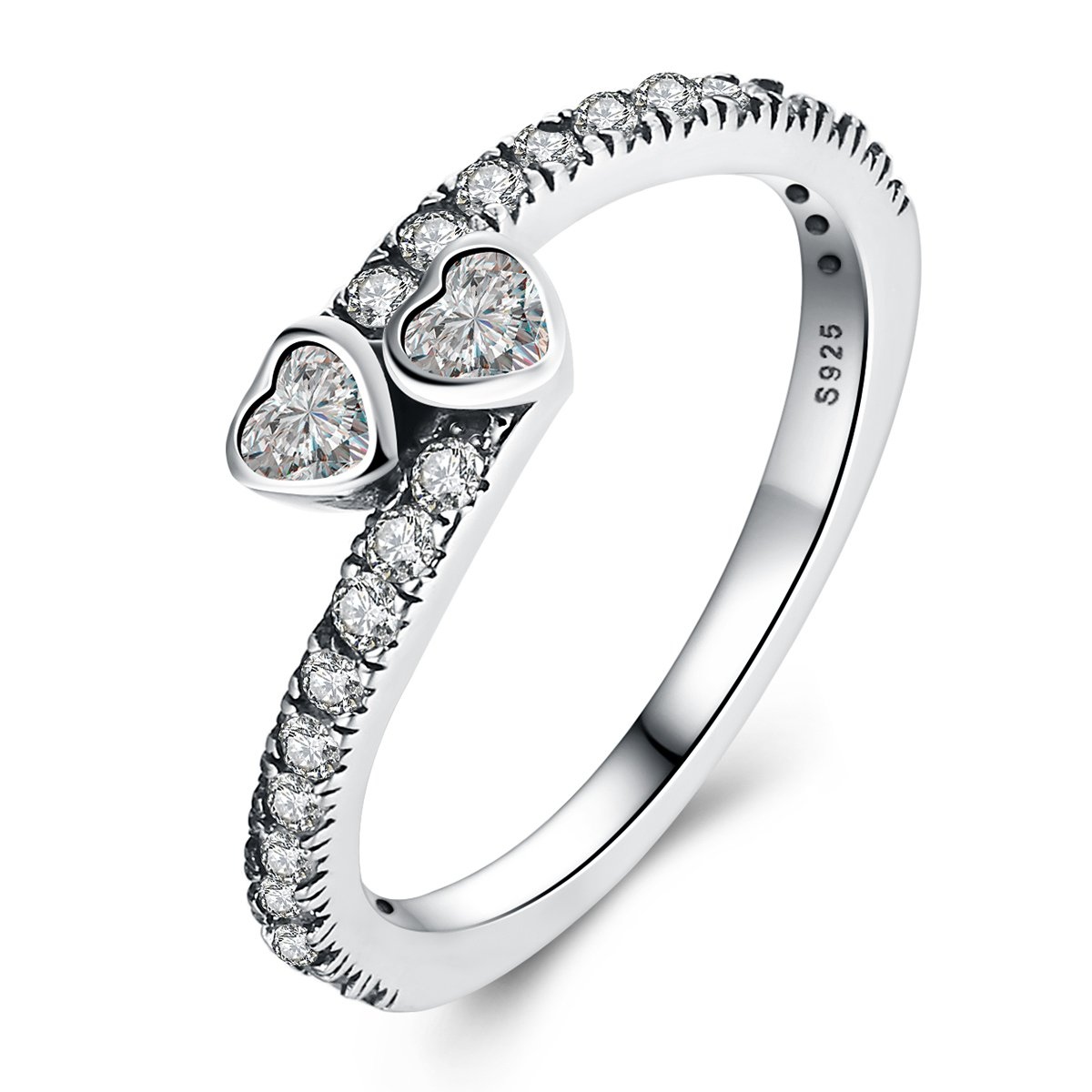 The Kiss Forever Hearts 925 Sterling Silver Engagement Ring, Clear CZ
