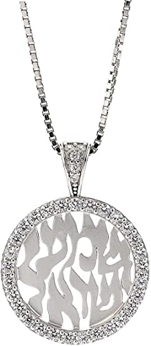 Simulated Diamond Studded Fashion Charm Pendant Necklace in 14K White Gold Plated With Box Chain