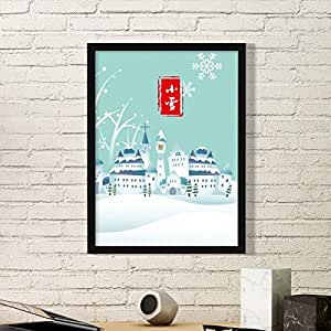 Snow Twenty Four Solar Term Pattern Art Painting Picture Photo Wooden Rectangle Frame Home Wall Decor Gift