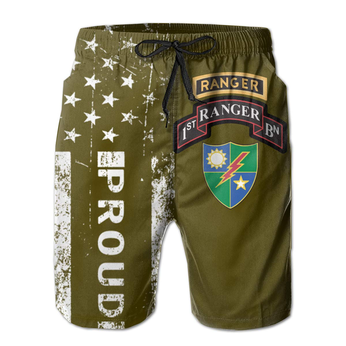 SUNSUNNY 1st Battalion 75th Ranger Regiment Mens Boardshorts Swim Trunks Beach Athletic Shorts