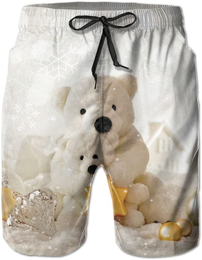 HFSST Christmas New Year Bear Decorations Ivory Summer Swimming Trunks Beachwear Shorts