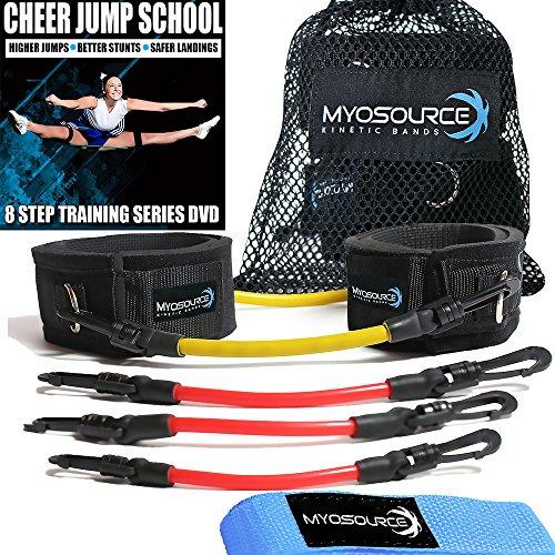 Kinetic Bands Cheer Combo Flexibility Fitness Training Kit (Leg Resistance Bands, Stunt Strap, Training DVD) From Myosource