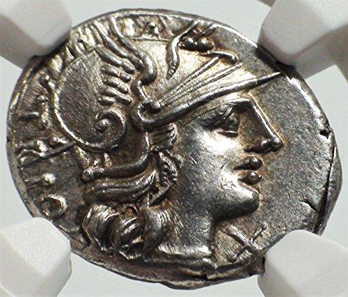 IT 136 BC Ancient Rome Roman Republic Authentic Antique Silver Coin AR Denarius Choice About Uncirculated NGC Ancient Roman Silver Coins