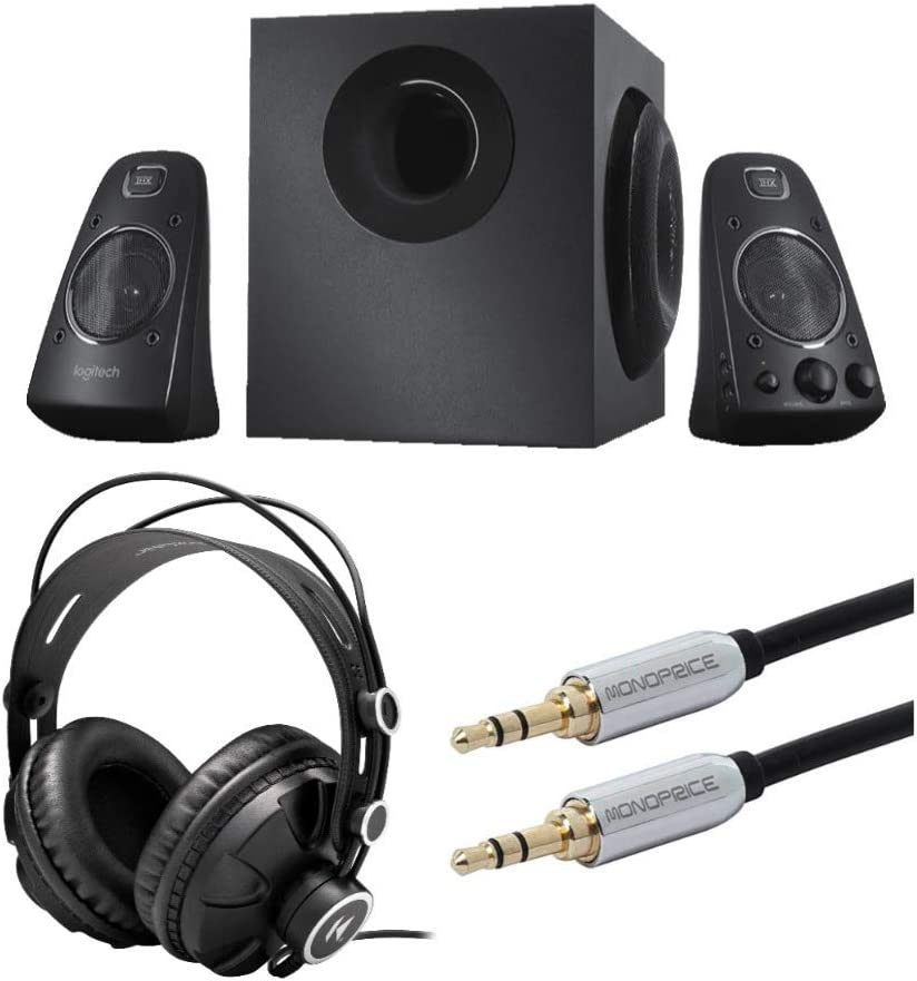 Logitech Z623 400 Watt Home Speaker System Bundle with Knox Gear Headphones and Audio Cable (3 Items)