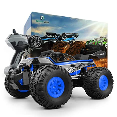 GizmoVine RC Coche Teledirigido Vehículo Hobby, 1/18 Monster Truck 2.4GHz Fuera del