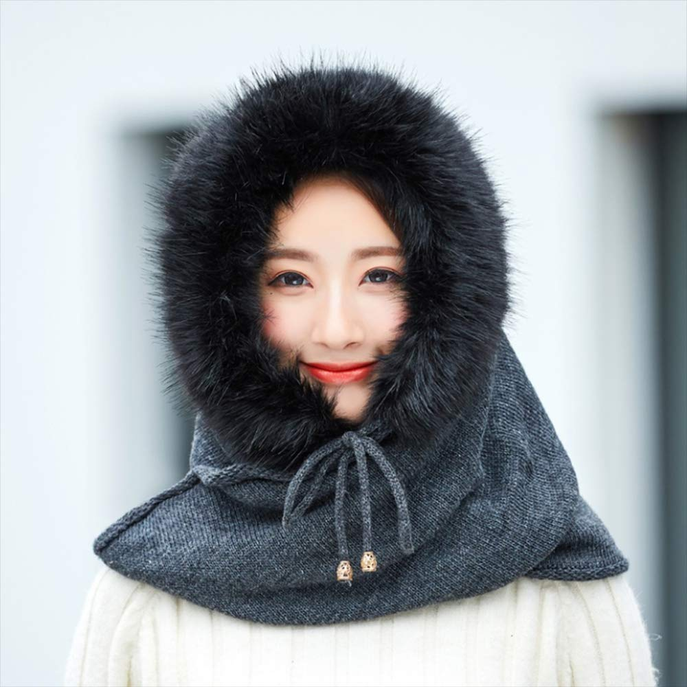 Winter Warm Knitted Hat Cap Bonnet Scarf Set Outdoor Sport Riding Plus Plush Beanies Caps Hooded Scarves Female,B