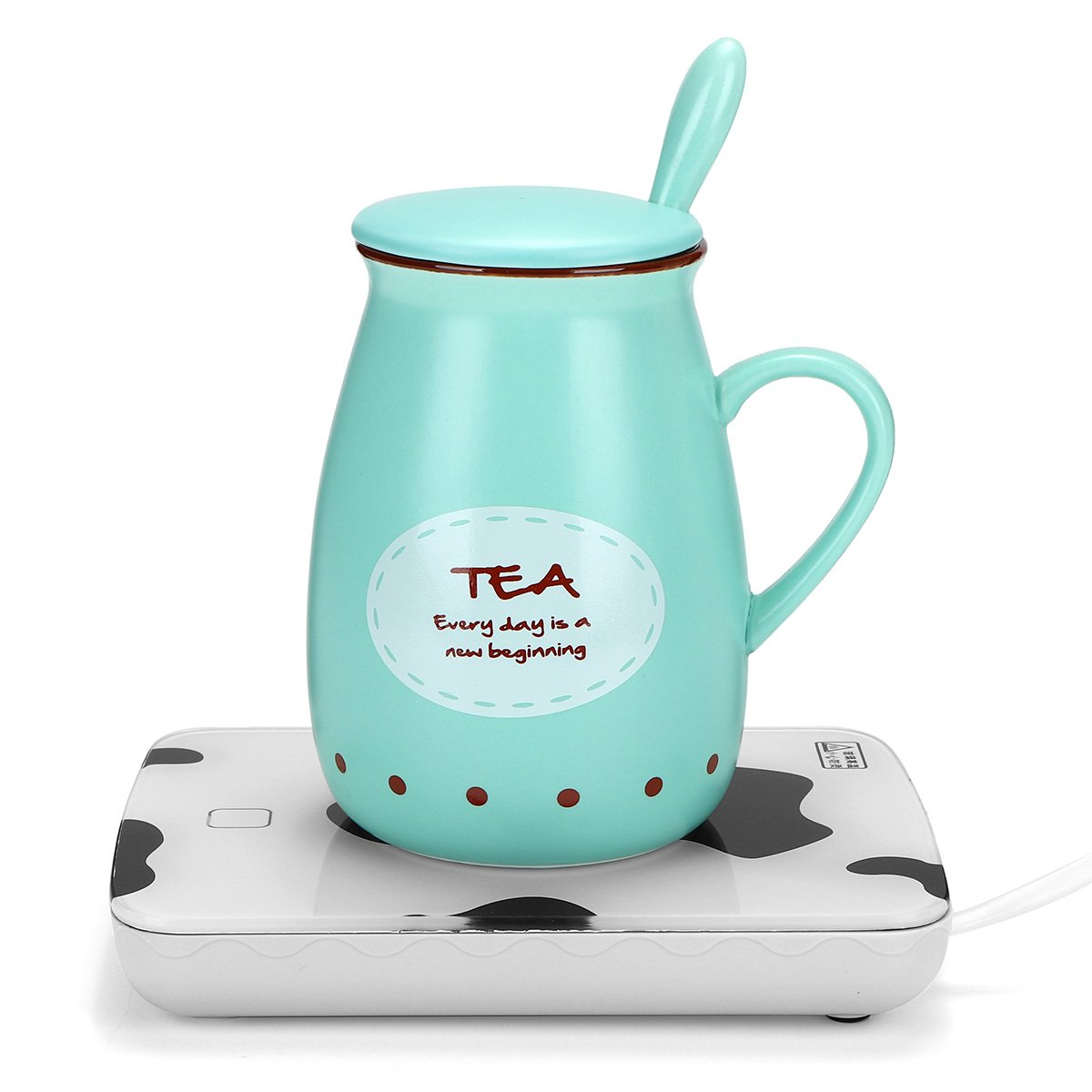 Portable Coffee Heater, KISENG Mug Cup Beverage Warmer Desktop Portable Powered Heater Plate Safely Warms for Milk Tea Coffee