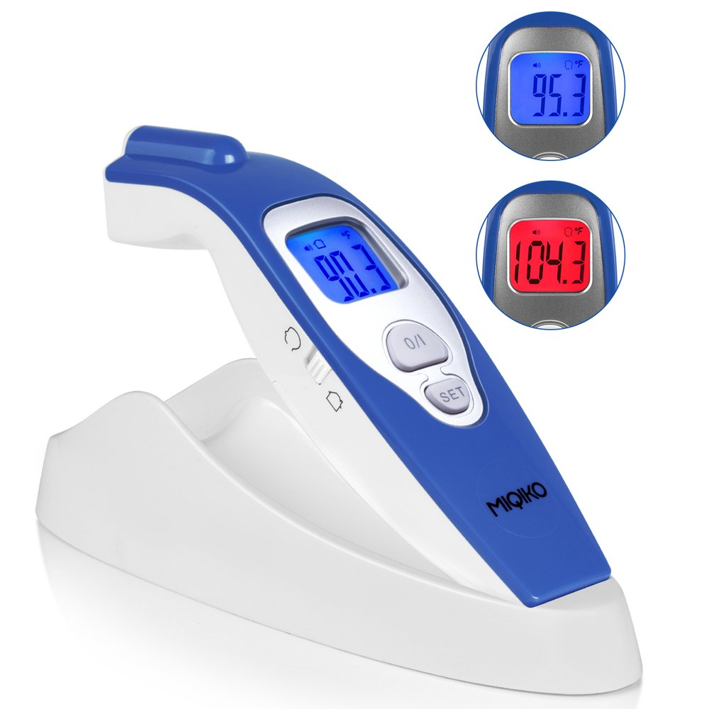 Baby Forehead Thermometer,MIQIKO No-Contact Clinical Infrared Digital Thermometer for /Kids /Adults /Elderly, Forehead /Object Mode,32 Memory, with Instant Reading and Improved Accuracy