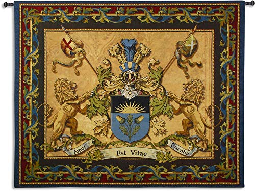 Love Strength Courage | Woven Tapestry Wall Art Hanging | Coat of Arms