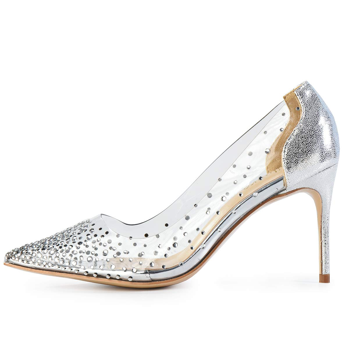 Silver 3.15inches Milugold Women Pointed Toe Transparent Rhinestones High Heels Party Wedding Pumps
