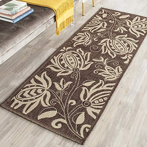 Courtyard Collection CY2961-3409 Chocolate and Natural Indoor/Outdoor Runner (2'3