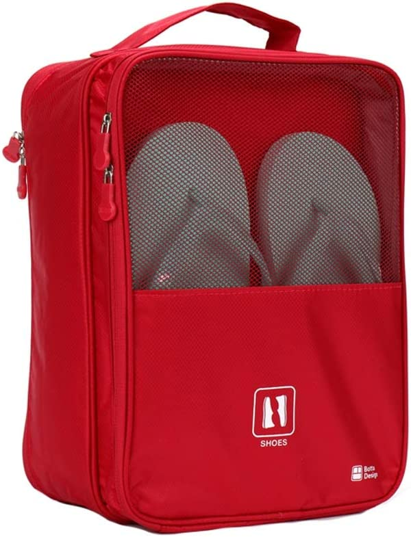 Color : Red Zhijie-snd Travel Shoe Storage Bag Shoes Holder Organizer,Travel Shoe Bag with Zipper Waterproof Portable Storage Organizer Bags