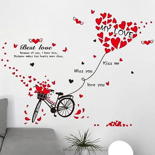 Forma de Corazón Inglés letras bicicleta pared adhesivo PVC ...