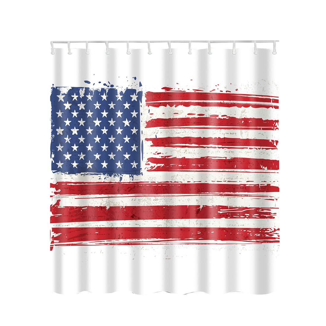 Alomoc Polyester Waterproof Shower Curtain Bathroom Decorations Set with 12 Hooks