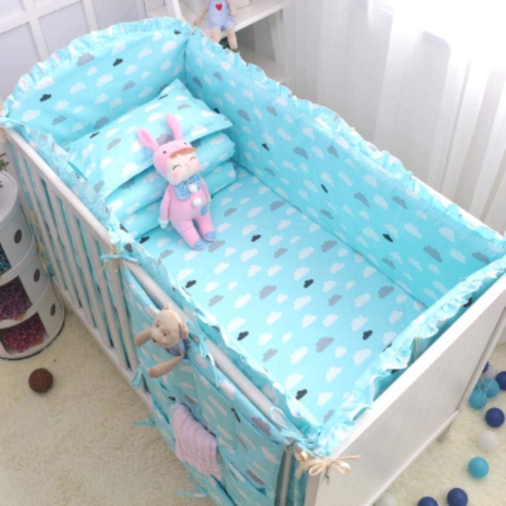 Yukie 6pcs Animal Print 100% algodón Parachoques Cuna Cuna Estrellas en Todo el Conjunto extraíble niños y niñas de Dibujos Animados bebé Unisex-cond,Nube Gris Azul