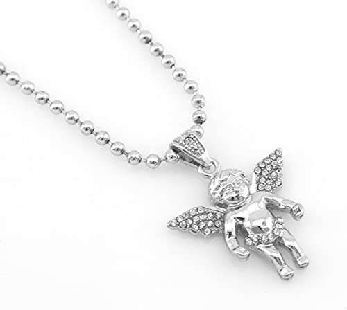 18 Men/'s Stainless Steel Silver Baby Angle Crown Pendant