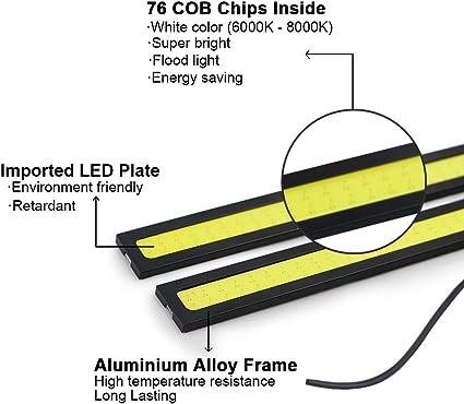 2 pezzi in alluminio impermeabile ad alta potenza 6W 6000K Xenon Slim COB, bianco RioRand RR-2P-6W-6K-S Luce di marcia diurna a LED
