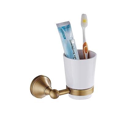 Lonfenner Montado en la pared Todo cobre Durable Porta cepillo de dientes Tumbler para el cuarto