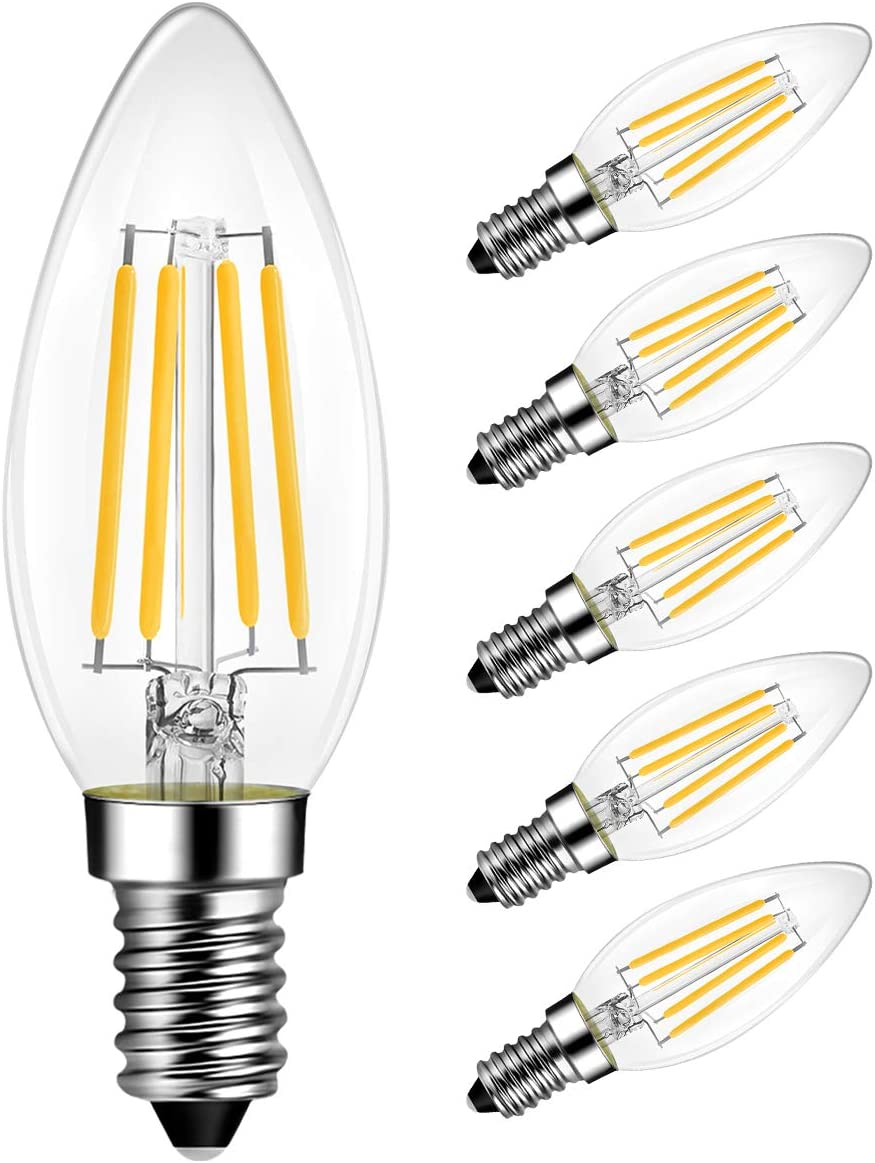 Lvwit B11 Led Filament Bulb Dimmable 500 Lumens 4 5w E12 Candelabra Base 2700k Warm White 60 Watt Incandescent Bulbs Equivalent 6 Pack Led Bulbs Amazon Canada