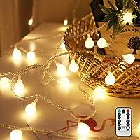 Nasharia 50 LED Guirlande Lumineuse LED Blanc Chaud IP65 Étanche Guirlande Lumineuse Globe Guirlande Lumineuse à Piles Fonctionne avec Télécommande IR pour Noël, mariage, fête, maison, jardin, balcon, terrasse, fenêtre, escalier, barre. [Classe énergétique A++]