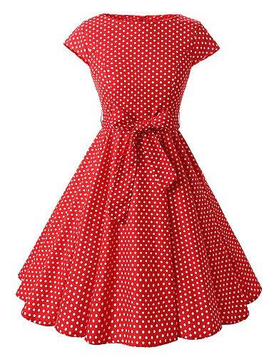 PU&PU Robe Aux femmes Trapèze Vintage,Points Polka Bateau Mi-long Coton , red-s , red-s