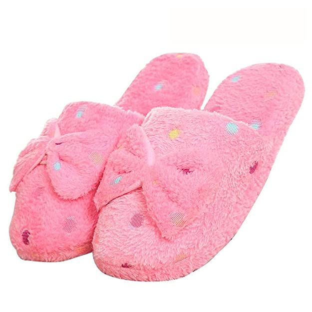 Amazon.com | Women Winter Home Slippers Warm Plush Cute Butterfly-Knot Indoor Slippers Soft Warm Couple Shoes | Slippers
