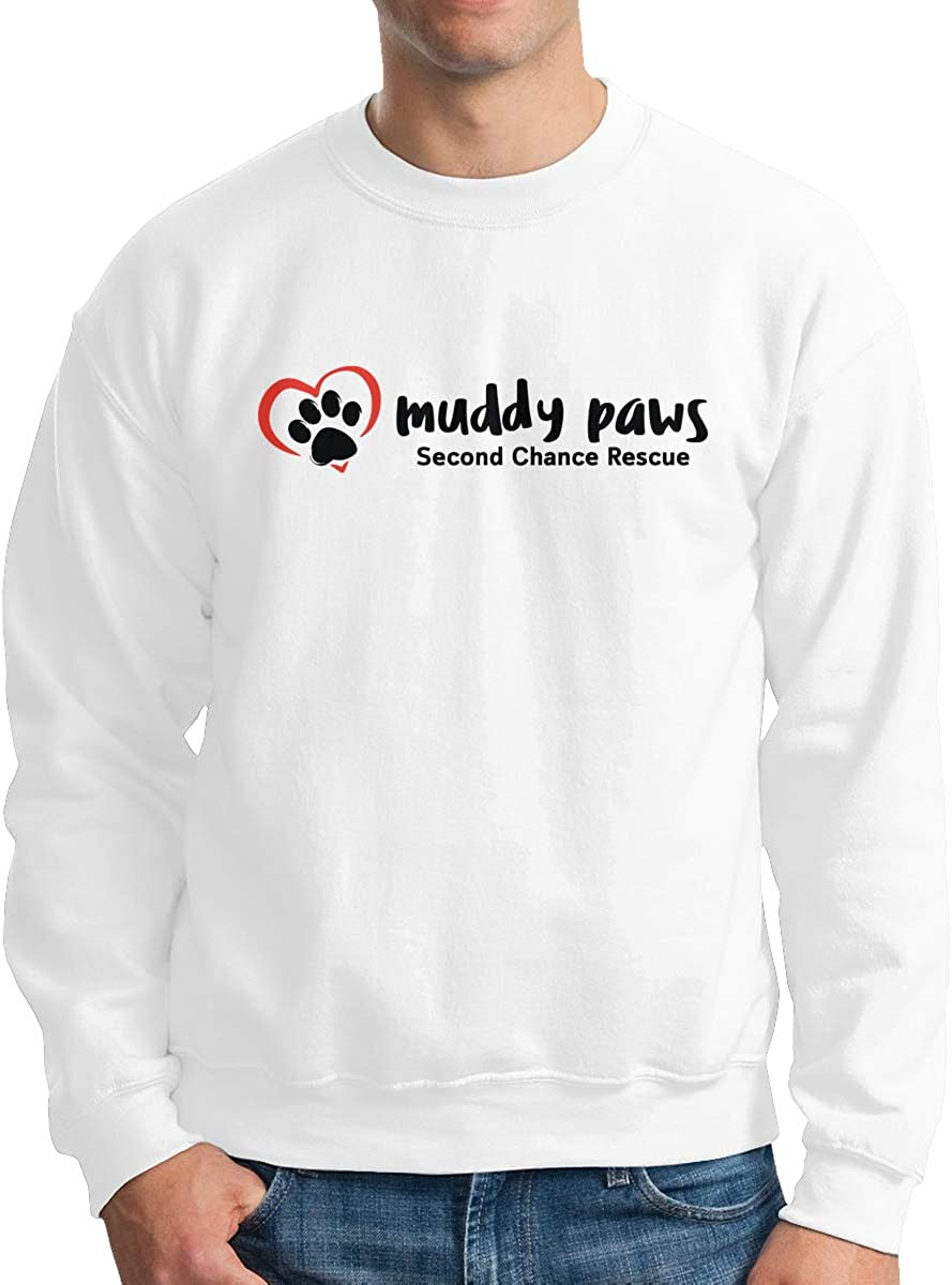 Muddy Paws Second Chance Rescue Mens Long Sleeve Crew Neck Pullover