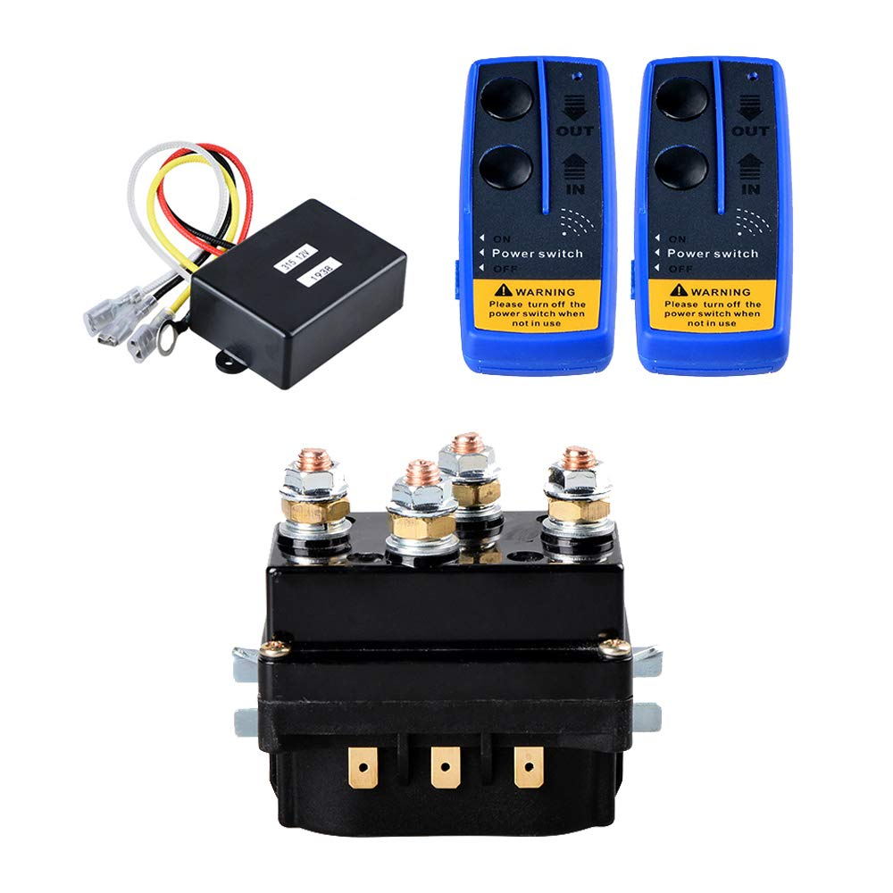 12V 500A Recovery Winch Solenoid HD Contactor Relay + Twin Wireless Remote Control for 8000lbs 12000lbs Rope Line Cable