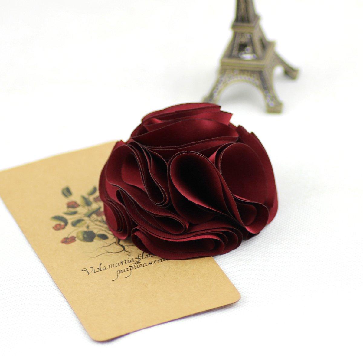 Rojo Merdia Flor De Seda De La Vendimia Pelo Cilp y Broches Boton