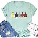 Chicken Tshirt Mom Cute T Shirts Womens Short Sleeves Farm Country Casual Tee Tops