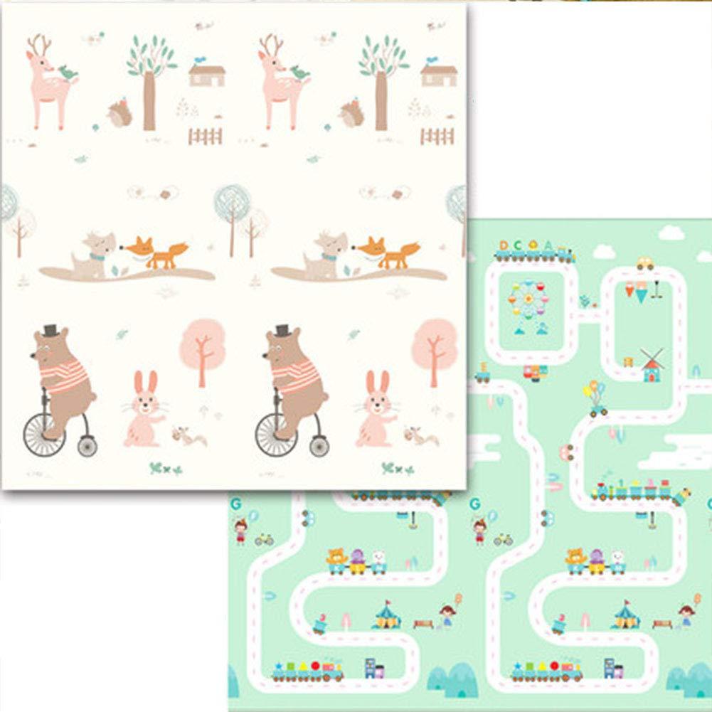 AIBAB Baby Kriechende Mattenverdickung Faltbar Baby Klettermatte Schaumstoffmatte Für Kinder Feuchtigkeitsfest Tragbar XPE 200 × 180 × 1,5 cm