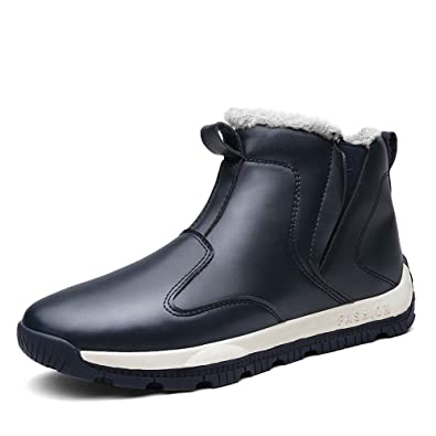 Mens PU Leather Shoes Slip-On Ankle Sneakers High Top Snow Boots With Fur Lining