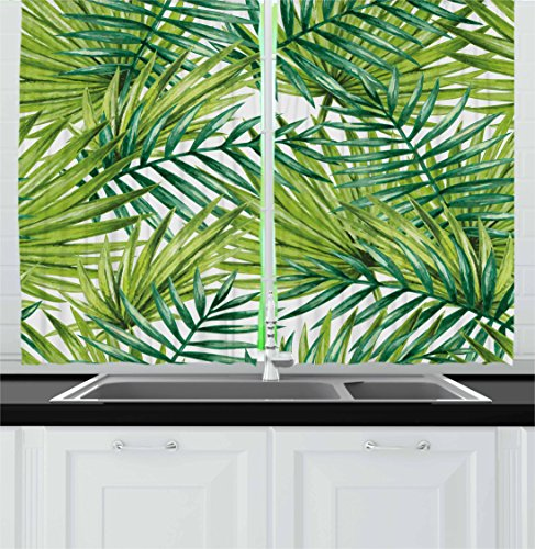 Plant Kitchen Curtains by Ambesonne, Watercolor Tropical Palm Leaves Colorful Illustration Natural Feelings, Window Drapes 2 Panel Set for Kitchen Cafe, 55 W X 39 L Inches, Fern Green Lime Green