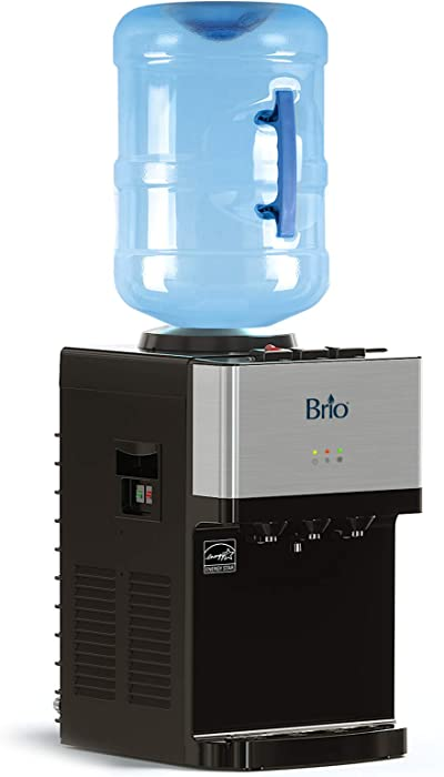 Brio Limited Edition Top Loading Countertop Water Cooler Dispenser with Hot Cold and Room Temperature Water. UL/Energy Star Approved