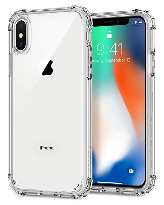hot sale online 03bd5 37b05 Spigen Crystal Shell iPhone A Case with Clear Back Panel and Reinforced  Corners on TPU Bumper for iPhone A (2017) - Clear Crystal
