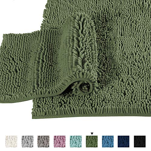 Non Slip Thick Shaggy Chenille Bathroom Rugs, Bath Mats for Bathroom Extra Soft and Absorbent – Bath Rugs Set for Indoor/Kitchen (Set of 2-20″ x 32″/17″ x 24″) Loden