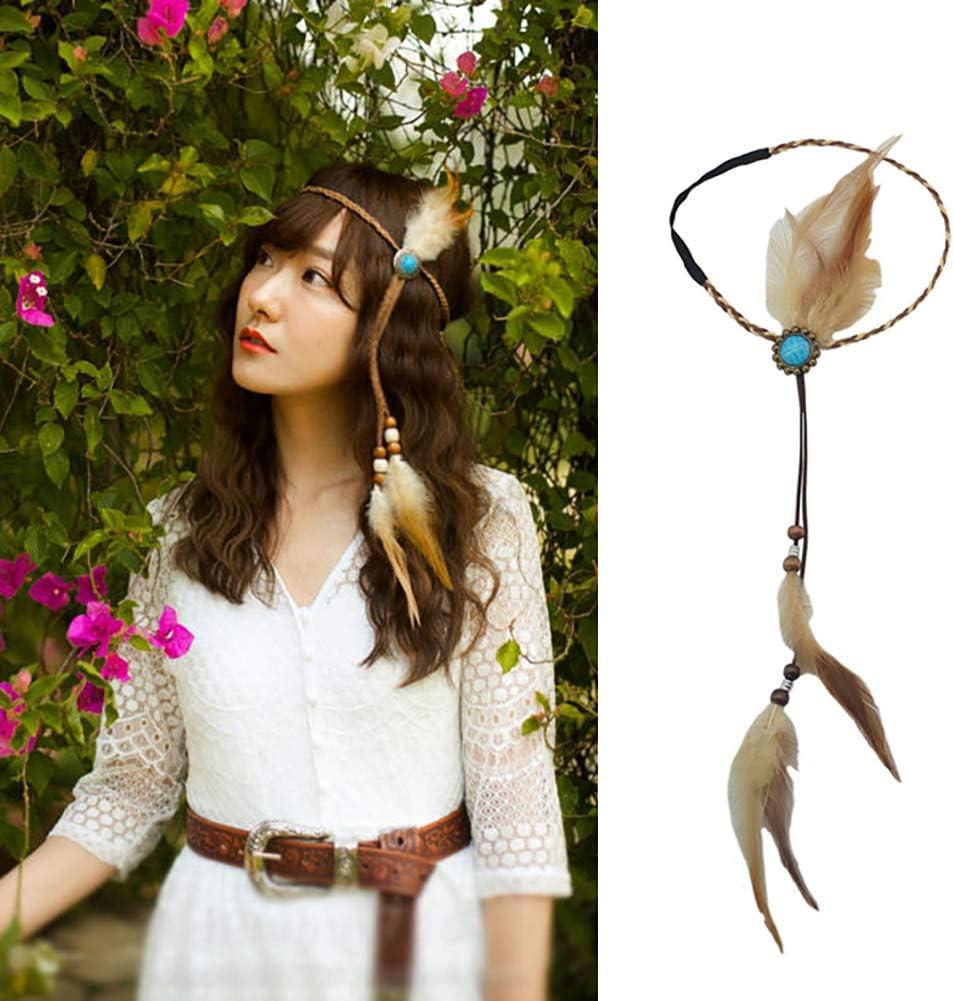 Tocado de plumas indias para mujer hecho a mano con gema azul gitana hippie pluma diadema bohemia diadema tocado tribal pluma banda para el cabello