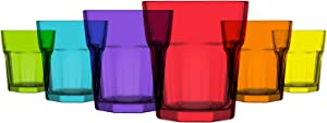 LAV 6-Piece Colored Glass Tumblers 10,25 oz Multicolor Vibrant Drinking Glasses Perfect Choice for Water, Beverages, Cocktails and Gifts, Lead-Free Drinkware & Dishwasher Safe