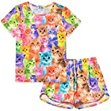 Girls Summer Pajamas Cat Print Sleepwear Kid Cute Cotton Set Teen Short Sleeves