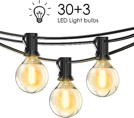 LOFTer Cadena de luz para exteriores Luces LED para jardín con 30 ...