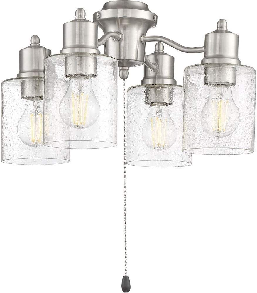 Brushed Polished Nickel Finish with Clear Seeded Glass Craftmade Lighting LK403107-BNK-LED Universal 16.7 28W 4 LED Light Kit
