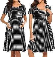 Lucktop Women Maternity Dresses Striped Nursing Nightgown Maternity Breastfeeding Sleepwear Nursing Nightgown