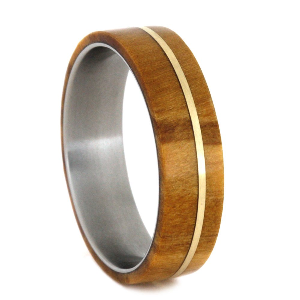 Olive Wood, 14k Yellow Gold Pinstripe 6.5mm Comfort-Fit Matte Titanium Wedding Band, Size 5.75