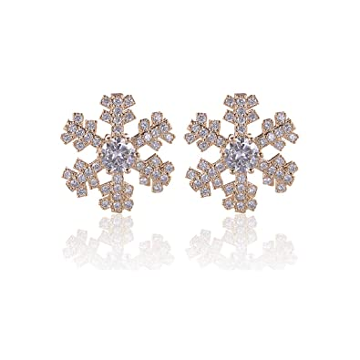 1273d682a CZ Snowflake Flower Earring Stud - 18k Gold Plated Sterling Silver  Hypoallergenic Full Cubic Zirconia Crystal