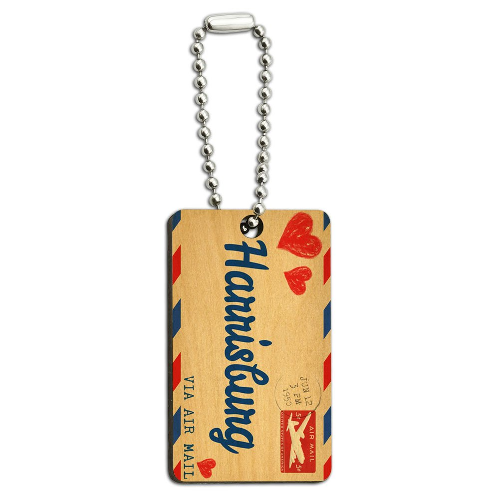 Air Mail Postcard Love for Harrisburg Wood Wooden Rectangle Key Chain